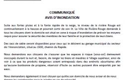 COMMUNIQUÉ - AVIS D'INONDATION